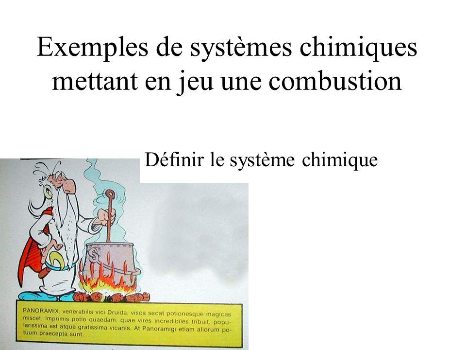 Exemples de systèmes chimiques mettant en jeu une combustion Définir le système chimique