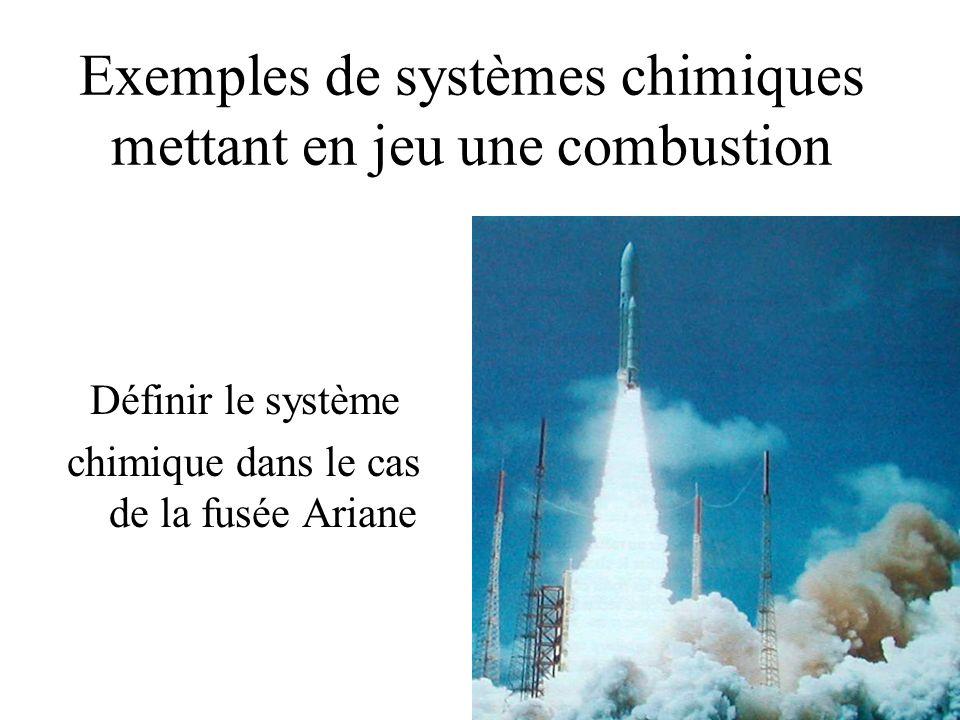 Exemples de systèmes chimiques mettant en jeu une combustion Définir le système chimique dans le cas de la fusée Ariane