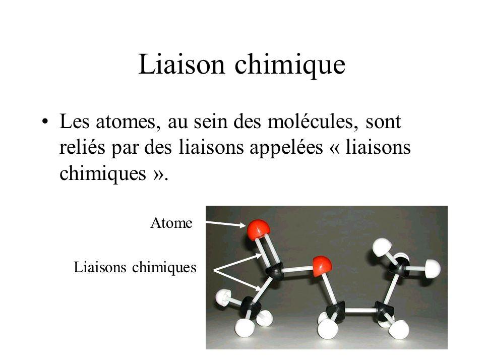 Liaison chimique Les atomes, au sein des molécules, sont reliés par des liaisons appelées « liaisons chimiques ».