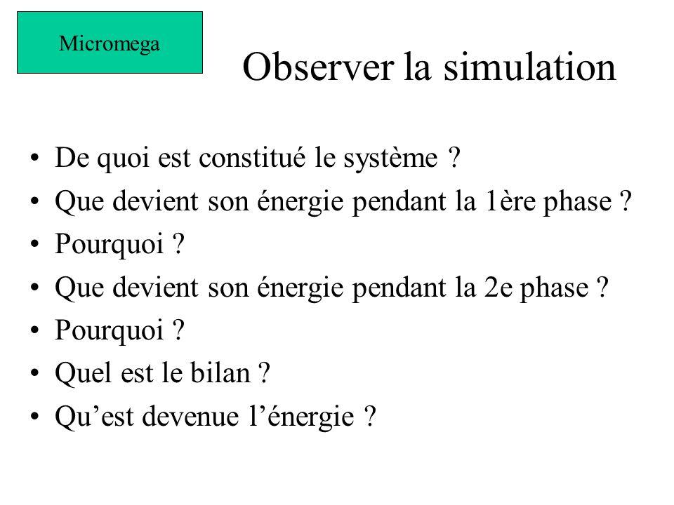 Observer la simulation De quoi est constitué le système .