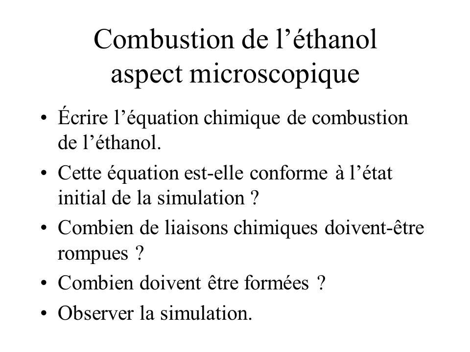 Combustion de léthanol aspect microscopique Écrire léquation chimique de combustion de léthanol.