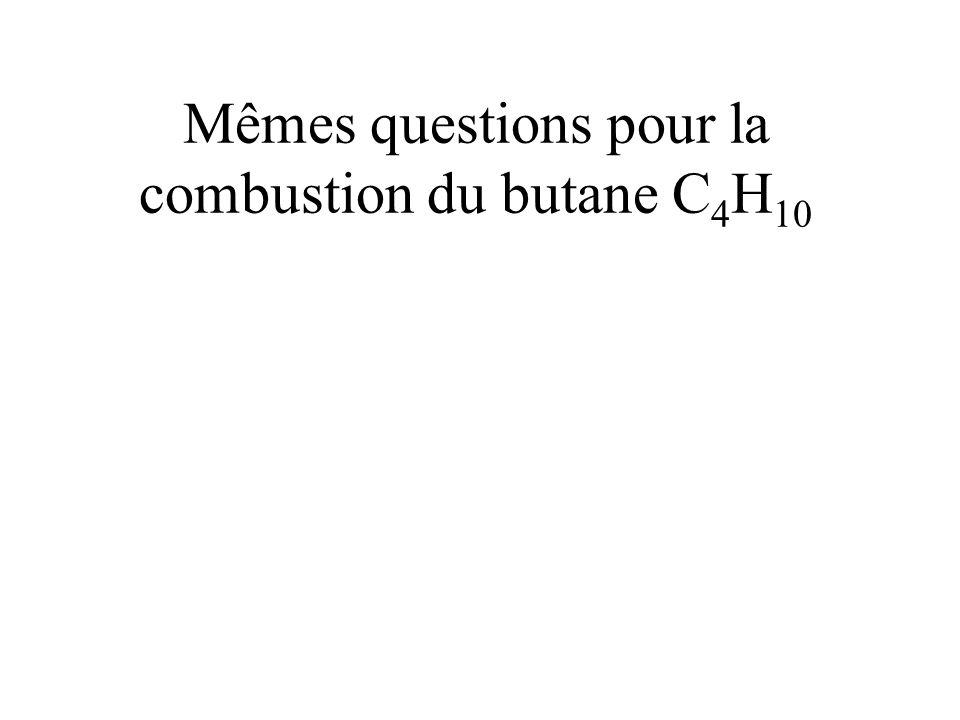 Mêmes questions pour la combustion du butane C 4 H 10