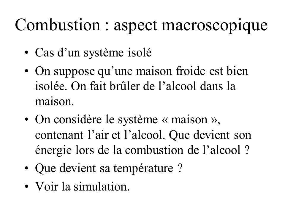 Combustion : aspect macroscopique Cas dun système isolé On suppose quune maison froide est bien isolée.