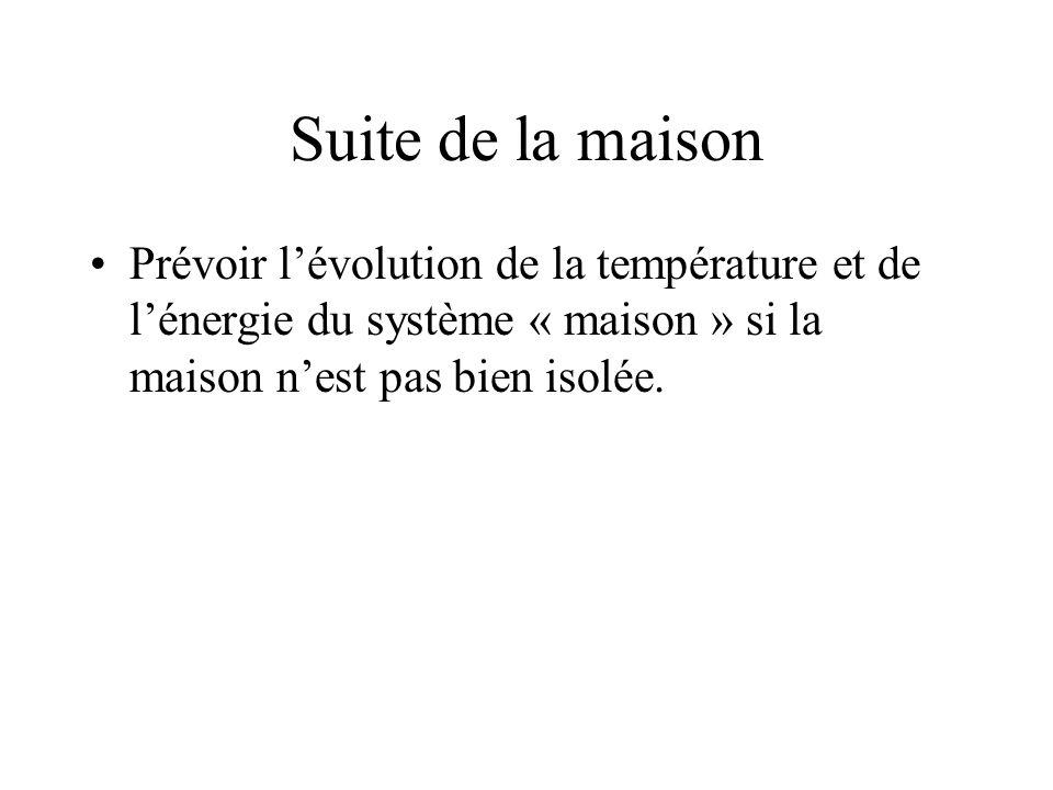 Suite de la maison Prévoir lévolution de la température et de lénergie du système « maison » si la maison nest pas bien isolée.