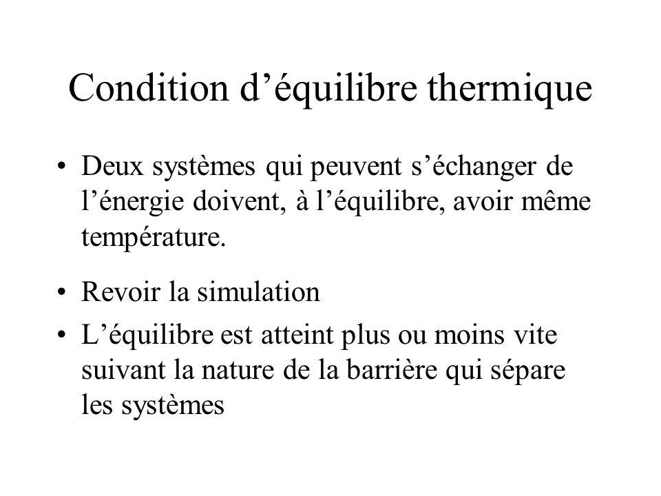 Condition déquilibre thermique Deux systèmes qui peuvent séchanger de lénergie doivent, à léquilibre, avoir même température.