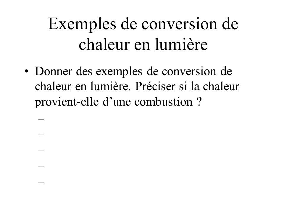 Exemples de conversion de chaleur en lumière Donner des exemples de conversion de chaleur en lumière.