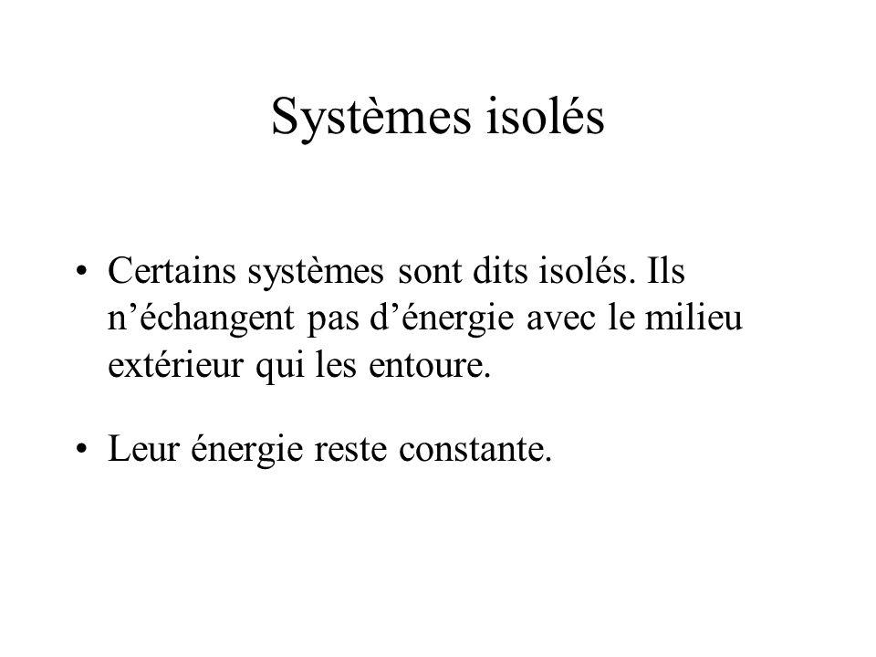 Systèmes isolés Certains systèmes sont dits isolés.