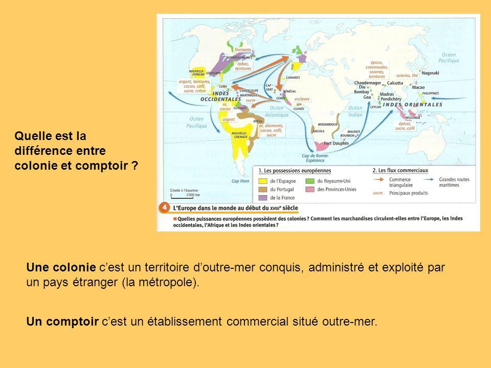 Quelle est la différence entre colonie et comptoir ? Une colonie cest un territoire doutre-mer conquis, administré et exploité par un pays étranger (l