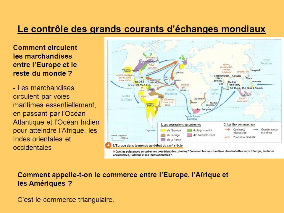 Le contrôle des grands courants déchanges mondiaux Comment circulent les marchandises entre lEurope et le reste du monde ? Comment appelle-t-on le com