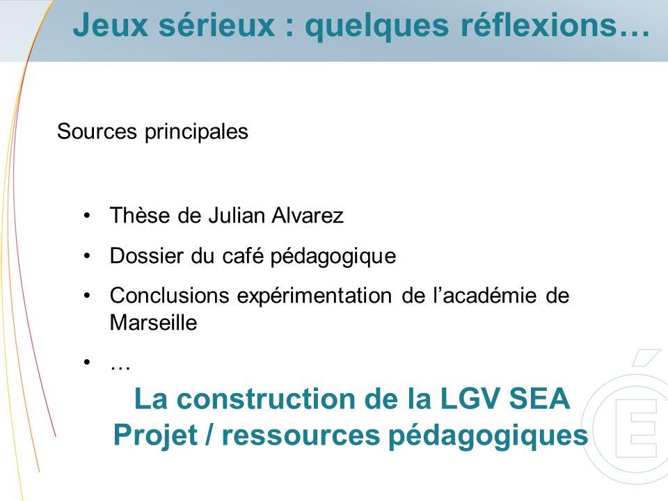 Sources principales Thèse de Julian Alvarez Dossier du café pédagogique Conclusions expérimentation de lacadémie de Marseille … Jeux sérieux : quelque