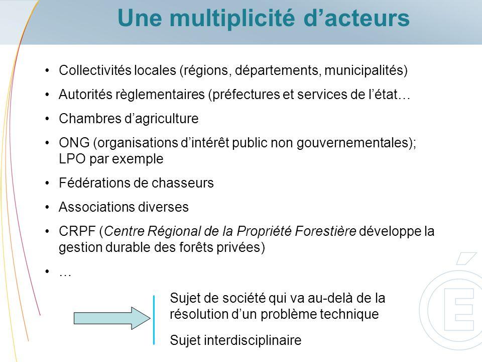 Une multiplicité dacteurs Collectivités locales (régions, départements, municipalités) Autorités règlementaires (préfectures et services de létat… Cha