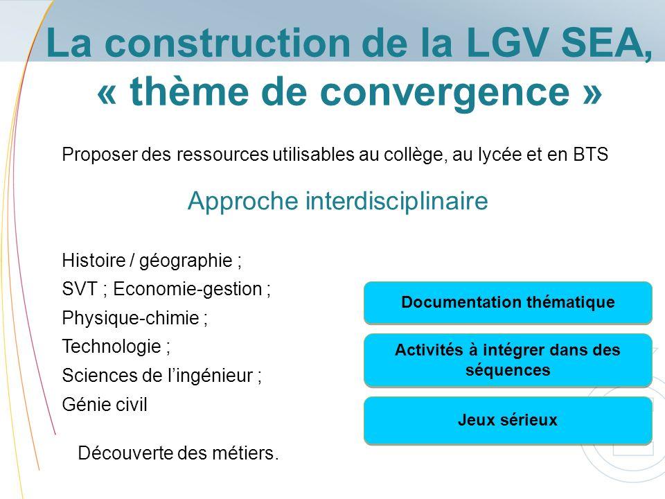 La construction de la LGV SEA, « thème de convergence » Proposer des ressources utilisables au collège, au lycée et en BTS Histoire / géographie ; SVT