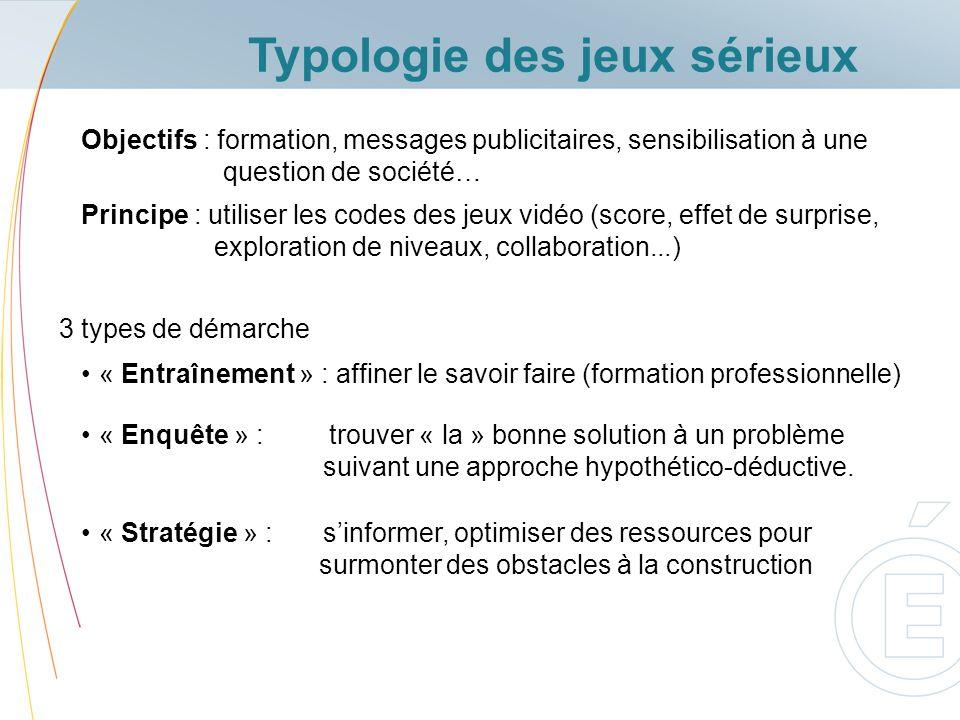 Typologie des jeux sérieux « Entraînement » : affiner le savoir faire (formation professionnelle) Objectifs : formation, messages publicitaires, sensi