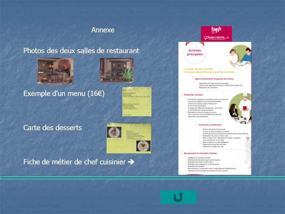 Annexe Photos des deux salles de restaurant Exemple dun menu (16) Carte des desserts Fiche de métier de chef cuisinier