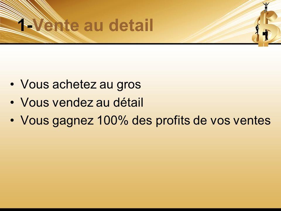 1-Vente au detail Vous achetez au gros Vous vendez au détail Vous gagnez 100% des profits de vos ventes