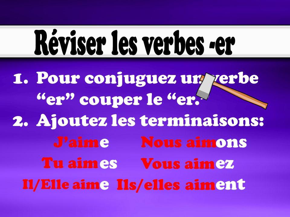 1.Pour conjuguez un verbe er couper le er.