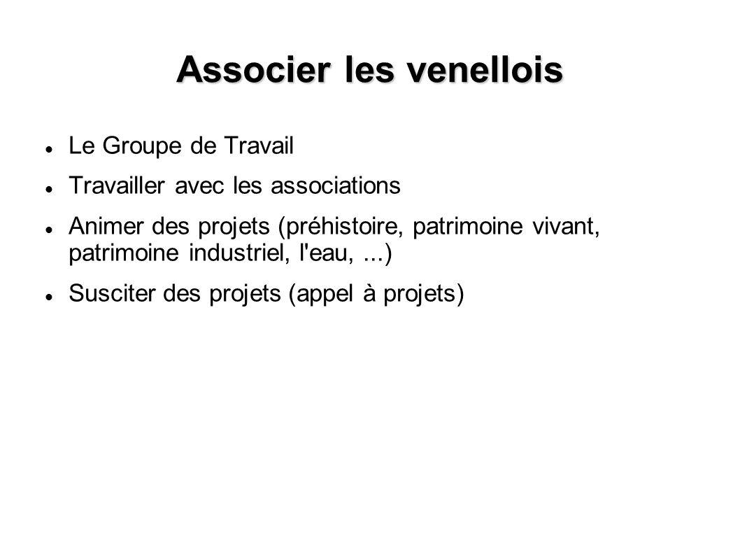 Associer les venellois Le Groupe de Travail Travailler avec les associations Animer des projets (préhistoire, patrimoine vivant, patrimoine industriel