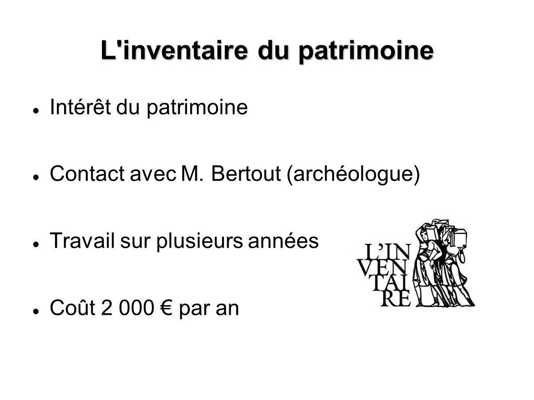 L'inventaire du patrimoine Intérêt du patrimoine Contact avec M. Bertout (archéologue) Travail sur plusieurs années Coût 2 000 par an