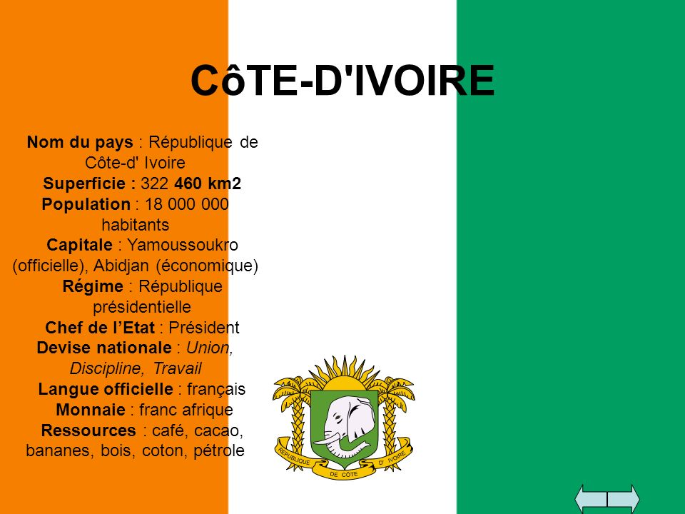 CôTE-D'IVOIRE Nom du pays : République de Côte-d' Ivoire Superficie : 322 460 km2 Population : 18 000 000 habitants Capitale : Yamoussoukro (officiell