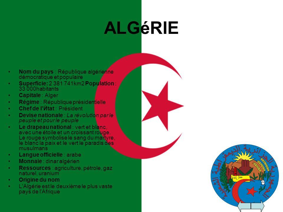 ALGéRIE Nom du pays : République algérienne démocratique et populaire Superficie: 2 381 741km2 Population : 33 000habitants Capitale : Alger Régime :