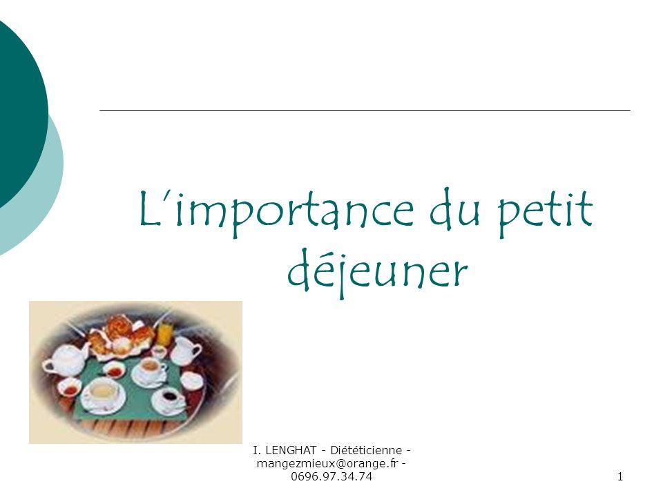 I. LENGHAT - Diététicienne - mangezmieux@orange.fr - 0696.97.34.741 Limportance du petit déjeuner
