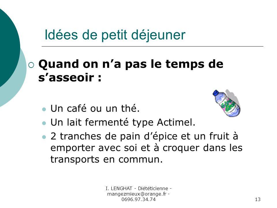 I. LENGHAT - Diététicienne - mangezmieux@orange.fr - 0696.97.34.7413 Idées de petit déjeuner Quand on na pas le temps de sasseoir : Un café ou un thé.