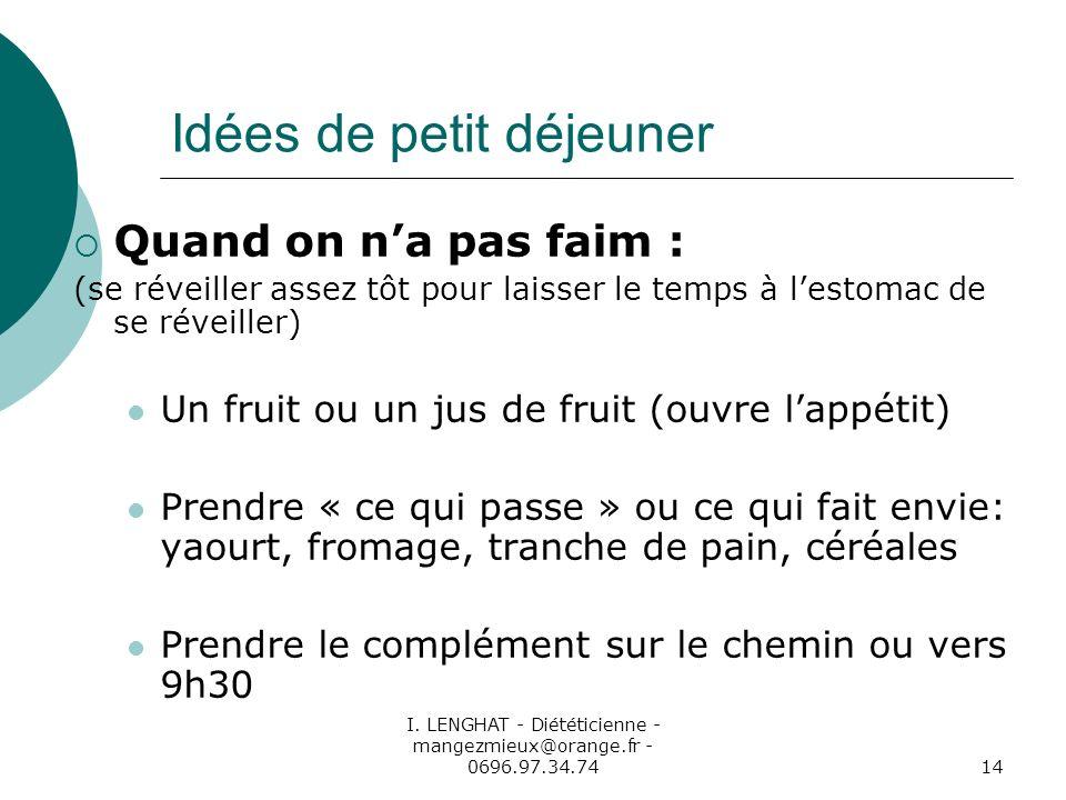I. LENGHAT - Diététicienne - mangezmieux@orange.fr - 0696.97.34.7414 Idées de petit déjeuner Quand on na pas faim : (se réveiller assez tôt pour laiss