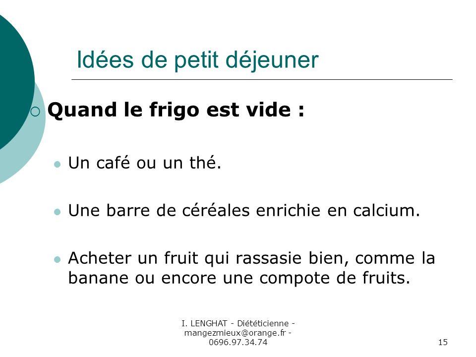 I. LENGHAT - Diététicienne - mangezmieux@orange.fr - 0696.97.34.7415 Idées de petit déjeuner Quand le frigo est vide : Un café ou un thé. Une barre de