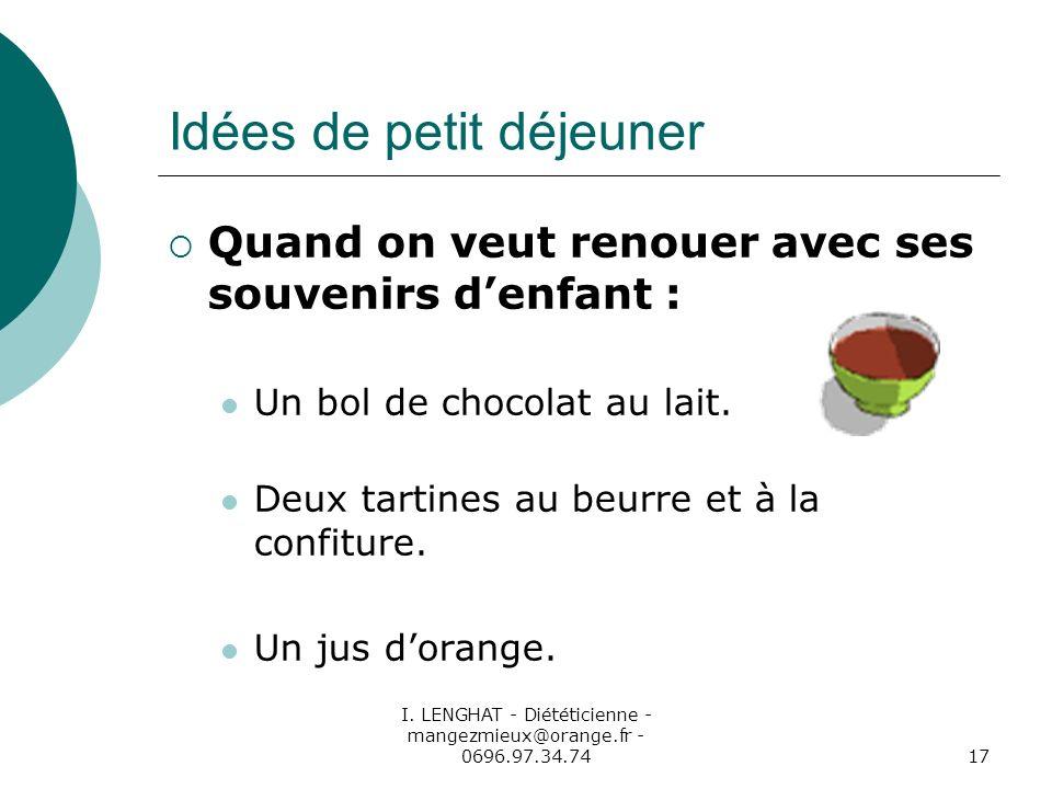 I. LENGHAT - Diététicienne - mangezmieux@orange.fr - 0696.97.34.7417 Idées de petit déjeuner Quand on veut renouer avec ses souvenirs denfant : Un bol
