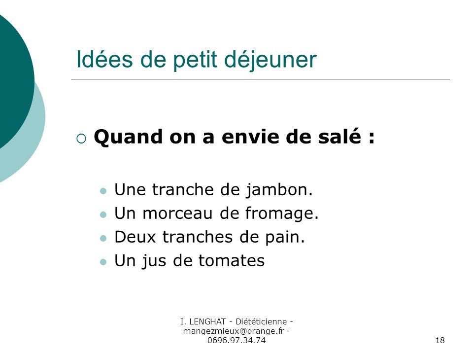 I. LENGHAT - Diététicienne - mangezmieux@orange.fr - 0696.97.34.7418 Idées de petit déjeuner Quand on a envie de salé : Une tranche de jambon. Un morc