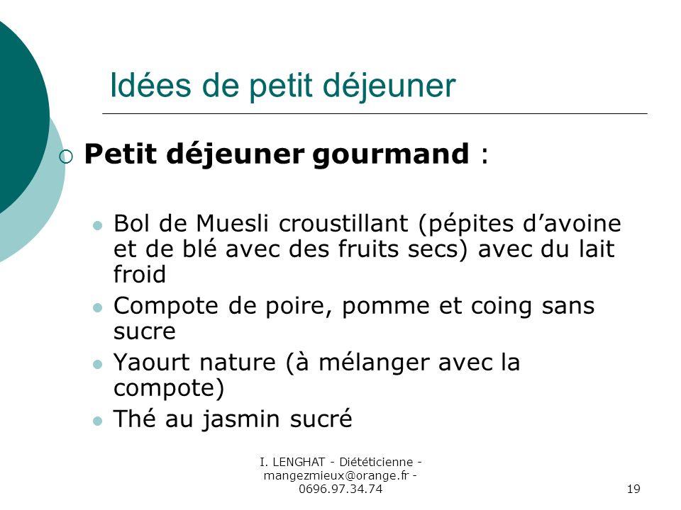 I. LENGHAT - Diététicienne - mangezmieux@orange.fr - 0696.97.34.7419 Idées de petit déjeuner Petit déjeuner gourmand : Bol de Muesli croustillant (pép