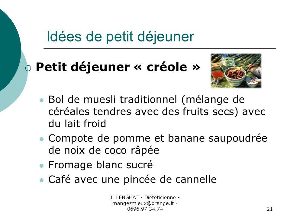 I. LENGHAT - Diététicienne - mangezmieux@orange.fr - 0696.97.34.7421 Idées de petit déjeuner Petit déjeuner « créole » Bol de muesli traditionnel (mél