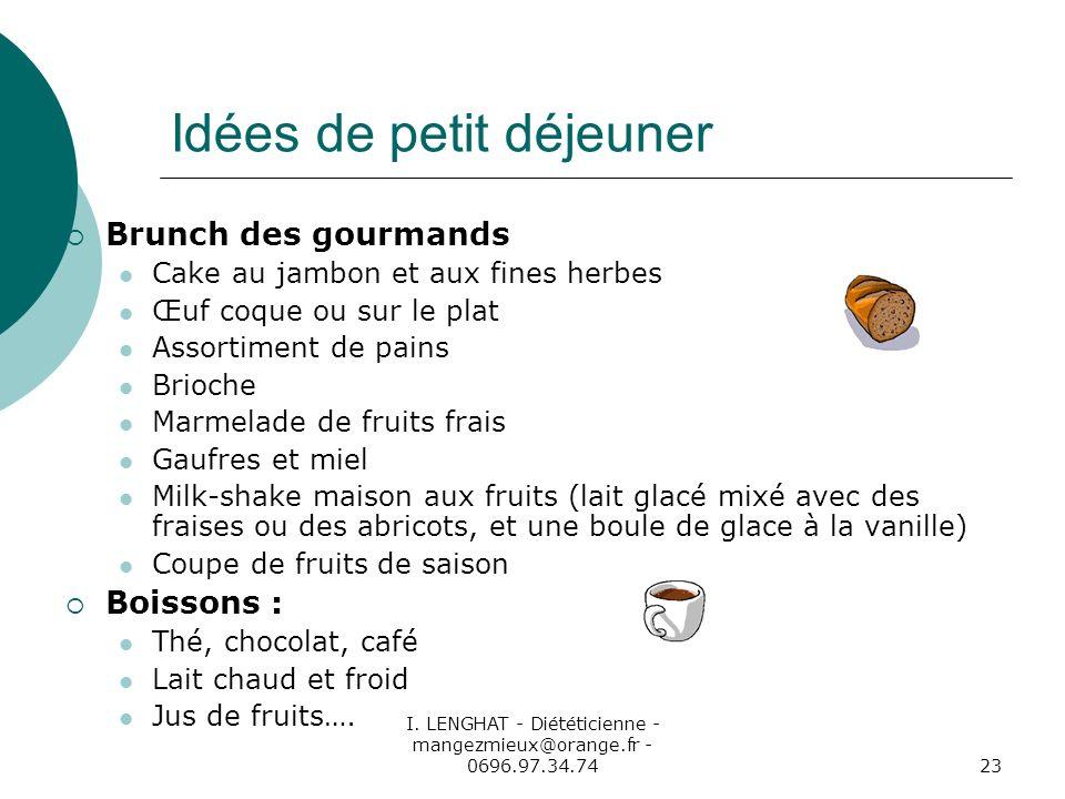I. LENGHAT - Diététicienne - mangezmieux@orange.fr - 0696.97.34.7423 Idées de petit déjeuner Brunch des gourmands Cake au jambon et aux fines herbes Œ