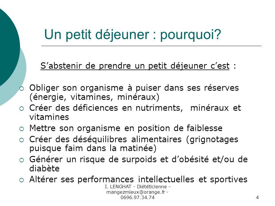I. LENGHAT - Diététicienne - mangezmieux@orange.fr - 0696.97.34.744 Un petit déjeuner : pourquoi? Sabstenir de prendre un petit déjeuner cest : Oblige