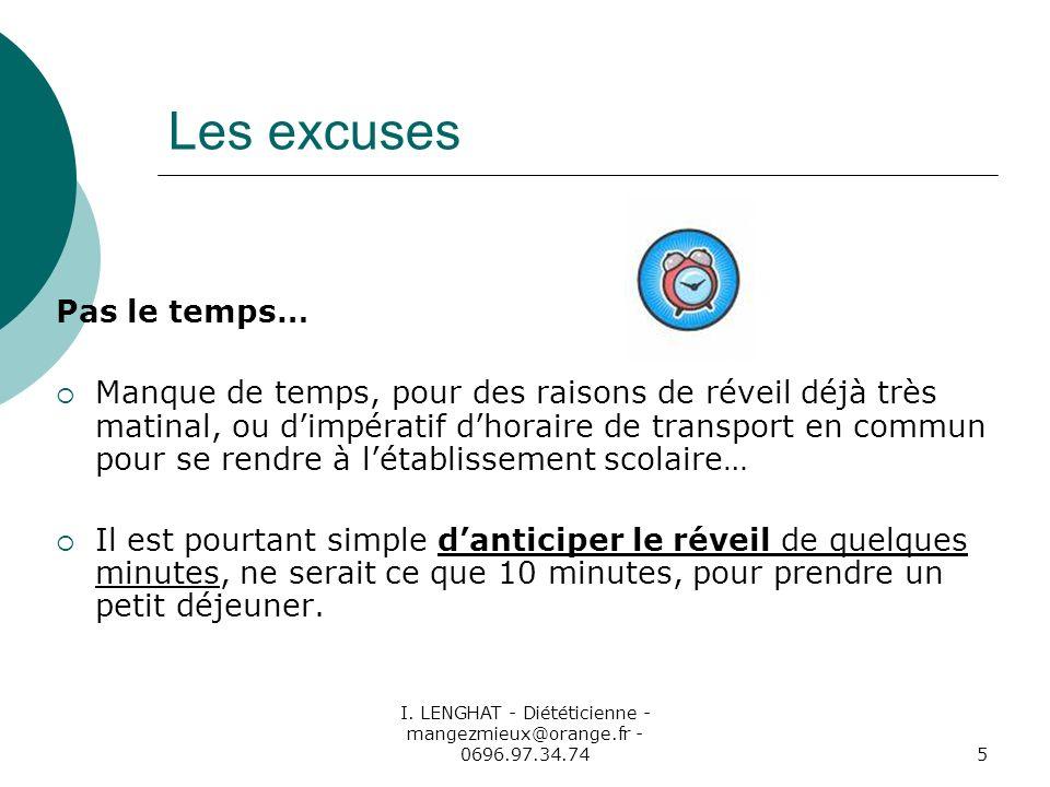 I. LENGHAT - Diététicienne - mangezmieux@orange.fr - 0696.97.34.745 Les excuses Pas le temps… Manque de temps, pour des raisons de réveil déjà très ma