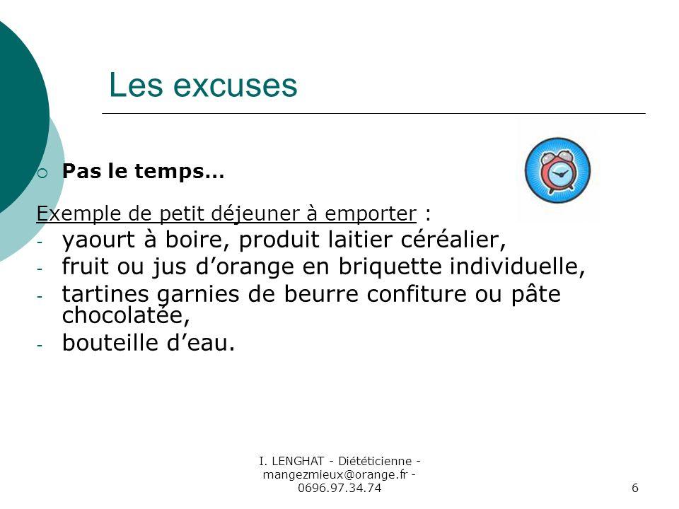 I. LENGHAT - Diététicienne - mangezmieux@orange.fr - 0696.97.34.746 Les excuses Pas le temps… Exemple de petit déjeuner à emporter : - yaourt à boire,