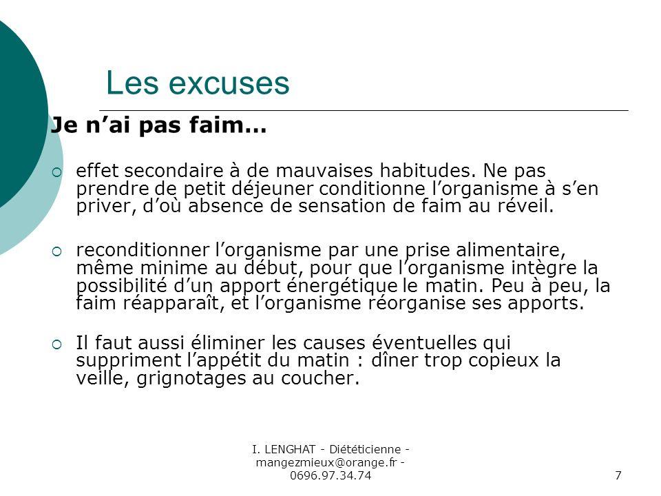 I. LENGHAT - Diététicienne - mangezmieux@orange.fr - 0696.97.34.747 Les excuses Je nai pas faim… effet secondaire à de mauvaises habitudes. Ne pas pre