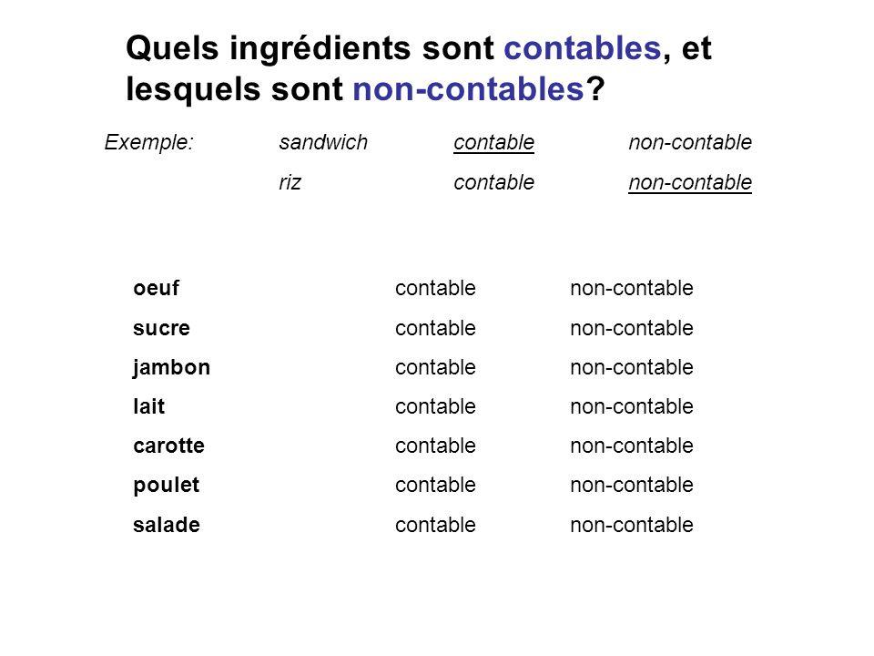 Quels ingrédients sont contables, et lesquels sont non-contables? Exemple:sandwichcontablenon-contable rizcontablenon-contable oeufcontablenon-contabl