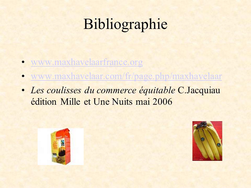 Bibliographie www.maxhavelaarfrance.org www.maxhavelaar.com/fr/page.php/maxhavelaar Les coulisses du commerce équitable C.Jacquiau édition Mille et Un