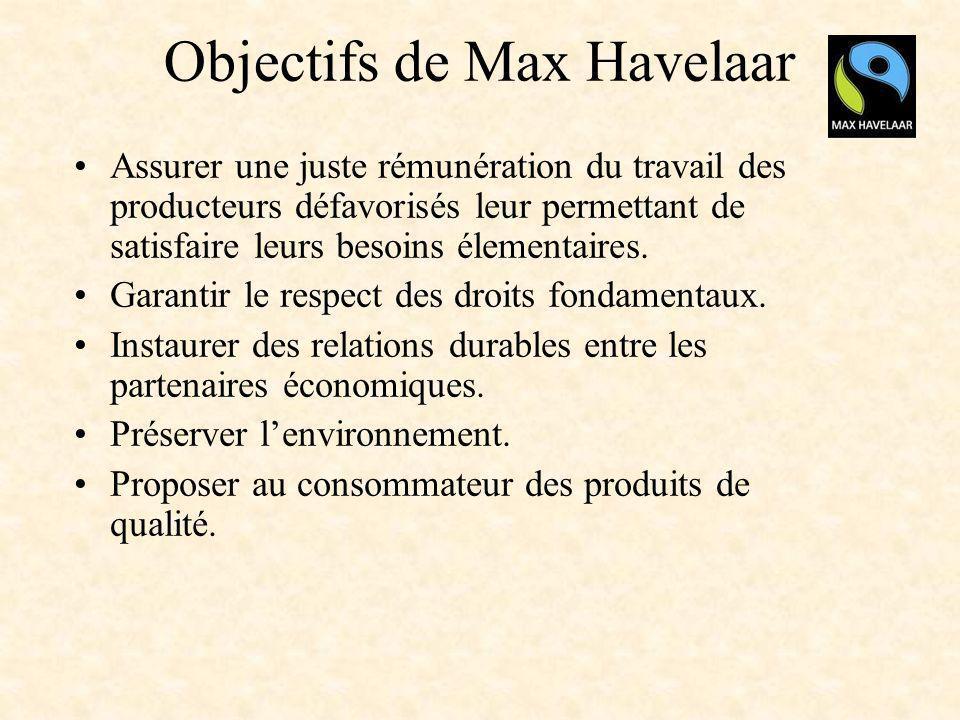 Objectifs de Max Havelaar Assurer une juste rémunération du travail des producteurs défavorisés leur permettant de satisfaire leurs besoins élementair