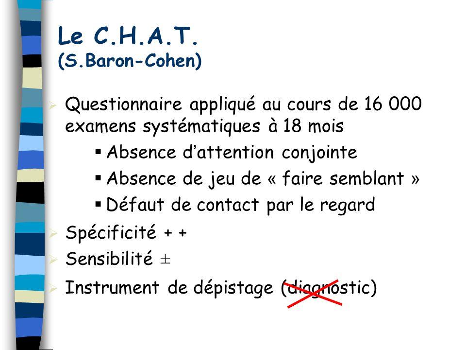 Spécificité + + Sensibilité ± Instrument de dépistage (diagnostic) Le C.H.A.T. (S.Baron-Cohen) Questionnaire appliqué au cours de 16 000 examens systé