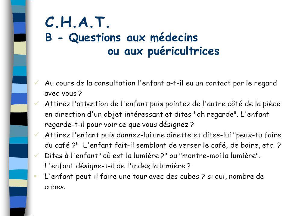 C.H.A.T. B - Questions aux médecins ou aux puéricultrices Au cours de la consultation l'enfant a-t-il eu un contact par le regard avec vous ? Attirez
