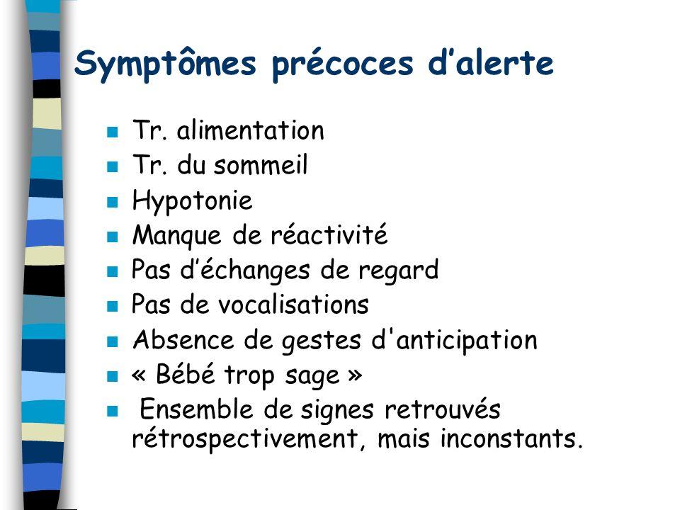 Symptômes précoces dalerte n Tr. alimentation n Tr. du sommeil n Hypotonie n Manque de réactivité n Pas déchanges de regard n Pas de vocalisations n A