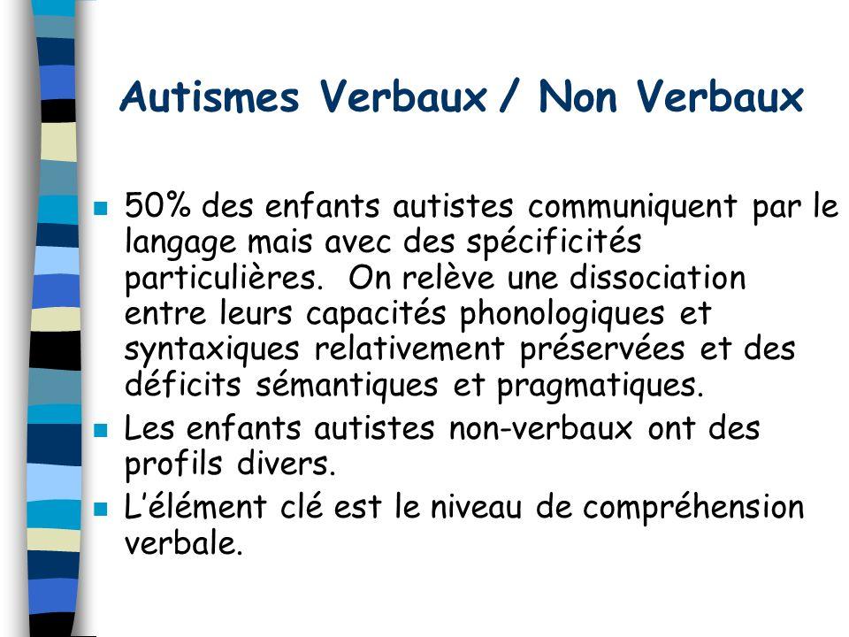 Autismes Verbaux / Non Verbaux n 50% des enfants autistes communiquent par le langage mais avec des spécificités particulières.