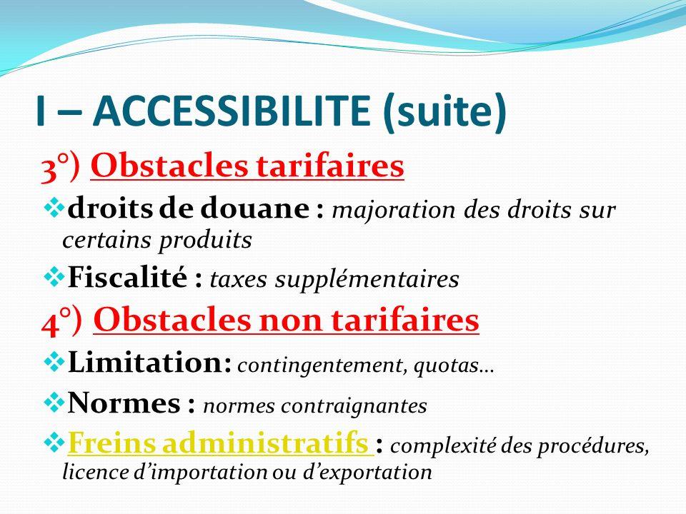 I – ACCESSIBILITE (suite) 3°) Obstacles tarifaires droits de douane : majoration des droits sur certains produits Fiscalité : taxes supplémentaires 4°