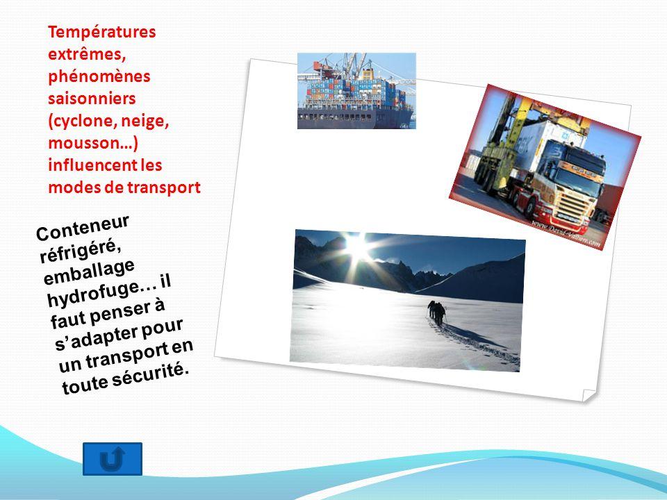 Températures extrêmes, phénomènes saisonniers (cyclone, neige, mousson…) influencent les modes de transport Conteneur réfrigéré, emballage hydrofuge…