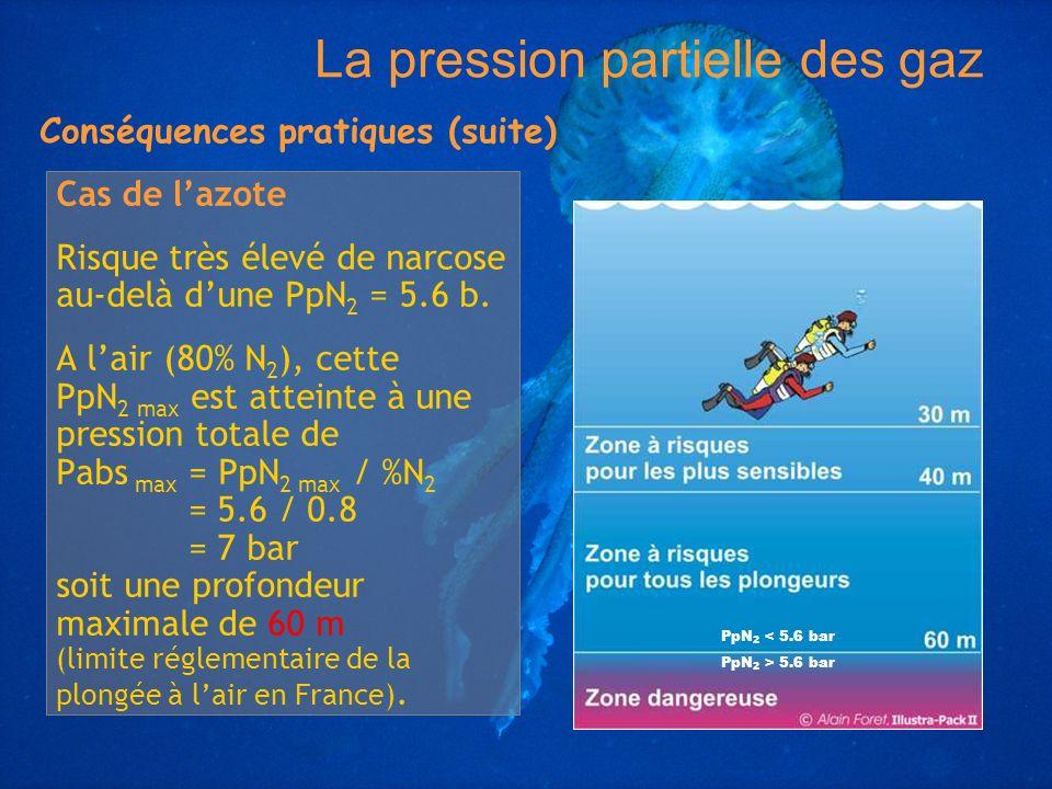 Cas de lazote Risque très élevé de narcose au-delà dune PpN 2 = 5.6 b. A lair (80% N 2 ), cette PpN 2 max est atteinte à une pression totale de Pabs m