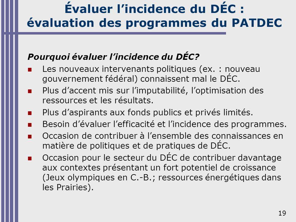 19 Évaluer lincidence du DÉC : évaluation des programmes du PATDEC Pourquoi évaluer lincidence du DÉC? Les nouveaux intervenants politiques (ex. : nou