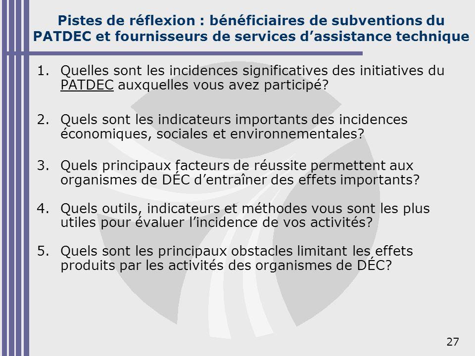 27 Pistes de réflexion : bénéficiaires de subventions du PATDEC et fournisseurs de services dassistance technique 1.Quelles sont les incidences signif