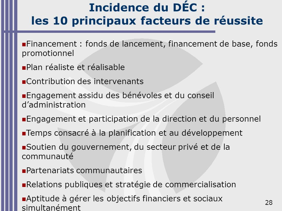 28 Incidence du DÉC : les 10 principaux facteurs de réussite Financement : fonds de lancement, financement de base, fonds promotionnel Plan réaliste e